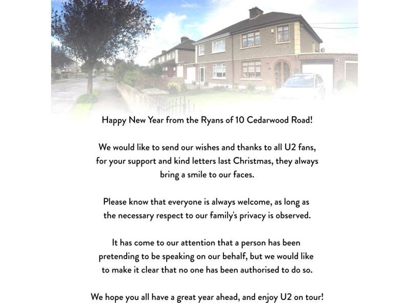 U2tour.de - U2 News: Grüße von der Familie Ryan aus der Cedarwood Road