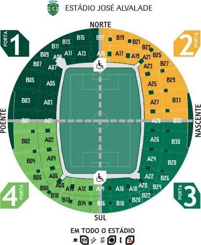 estadio jose alvalade mapa Mapa Estadio Alvalade XXI Lisboa estadio jose alvalade mapa